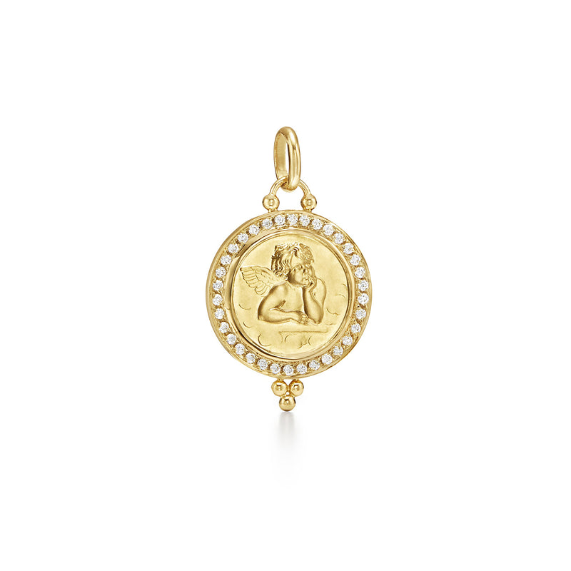 ANGEL PENDANT WITH PAVE DIAMONDS - 21MM