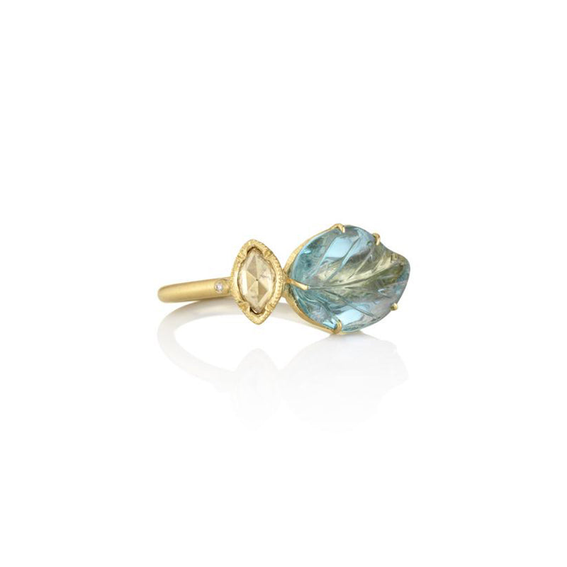 MAYA AQUAMARINE LEAF RING