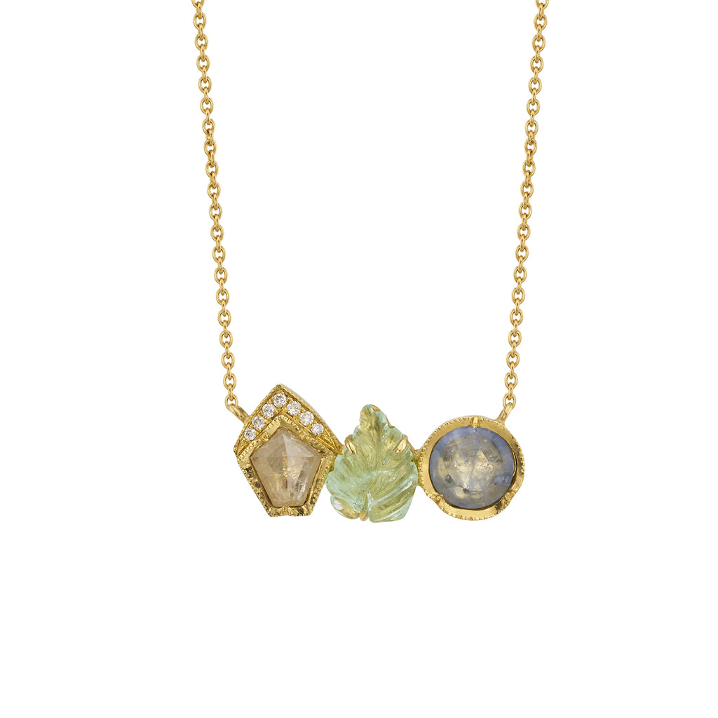 RIVERA LEAF NECKLACE WITH EMERALD, DIAMOND, & SAPPHIRE