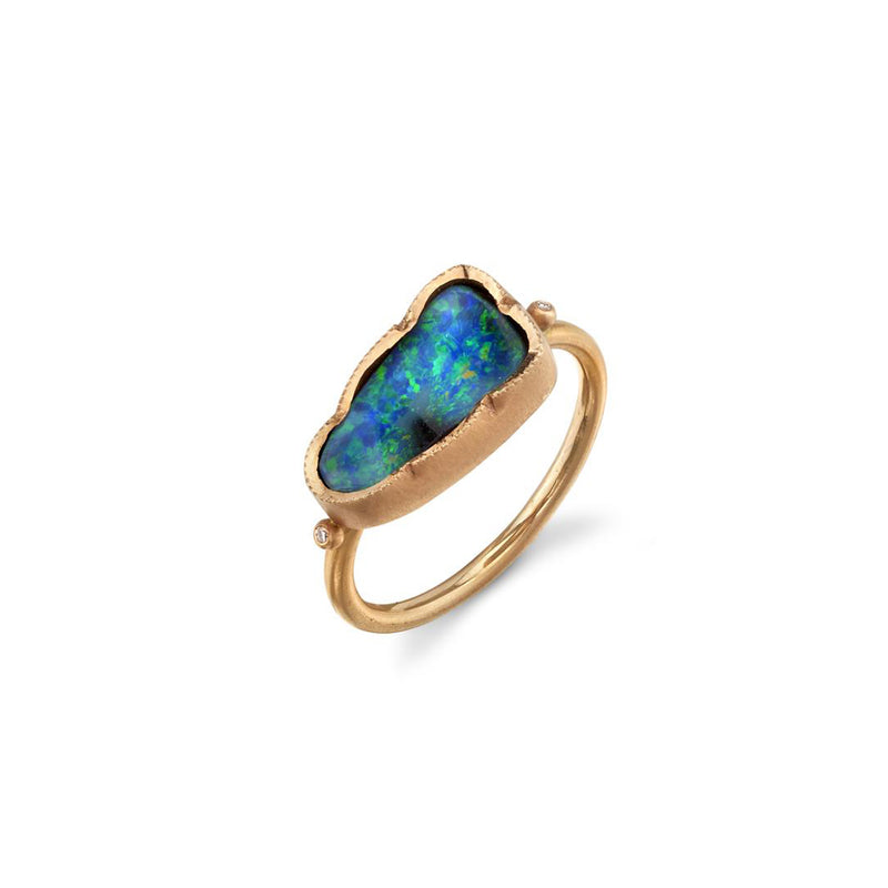 BOULDER OPAL TRIANGLE DEWDROP RING