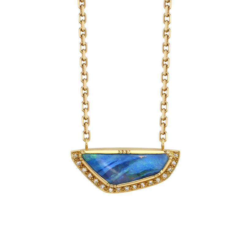 ELLIPSE HALO BOULDER OPAL NECKLACE