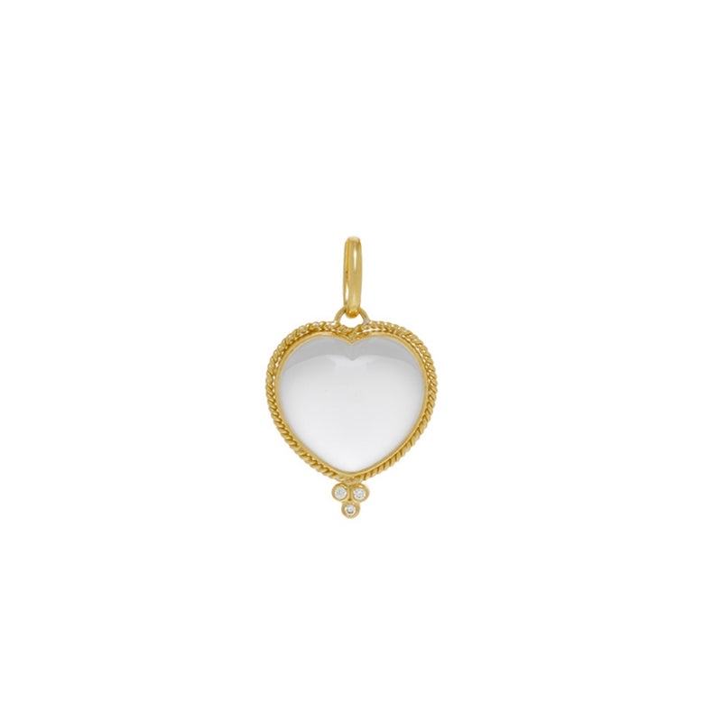 BRAIDED GOLD ROCK CRYSTAL HEART PENDANT