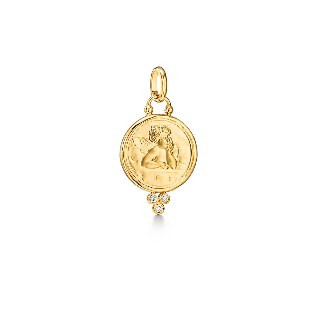 ANGEL PENDANT WITH DIAMONDS - 16MM