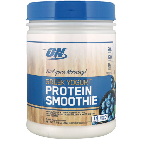 EXP. 05 .2019 Optimum Nutrition, Greek Yogurt, Protein Smoothie, Blueberry, 1.02 lb