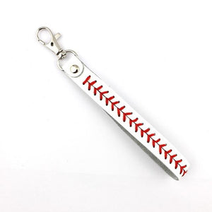 Leather Baseball Keychain