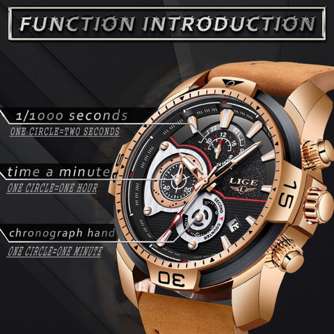 Image of LIGE Luxury Casual Leather Quartz Watch