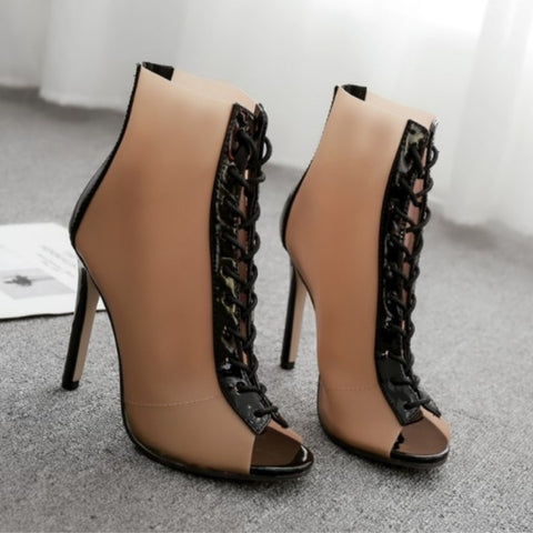 Solid Style Lace Up High Boots