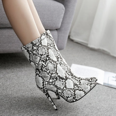Snow White Snake Print Ankle Boots