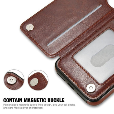 Retro Leather Wallet Case For iPhone
