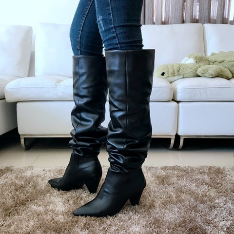 Image of Leather Over The Knee Pleated Boots (Long/Short)