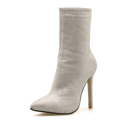 Diamond Sparkle High Ankle Boots