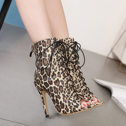 New Lace-Up Leopard Print Ankle Boots High Heel Boots