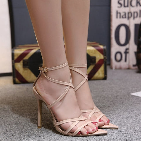 Sexy New Pointed Cross Strap Stiletto Heels