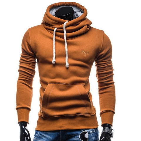 Solid Colored Casual Drawstring Hoodie