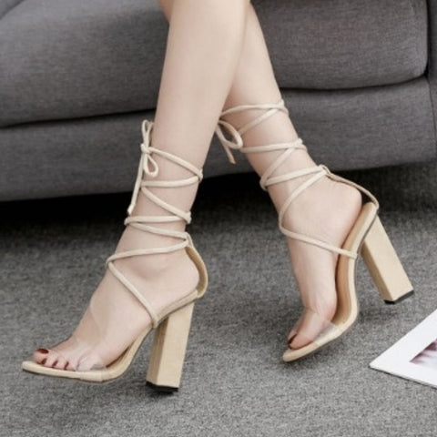 Ankle Strap Laced Up Square Heels