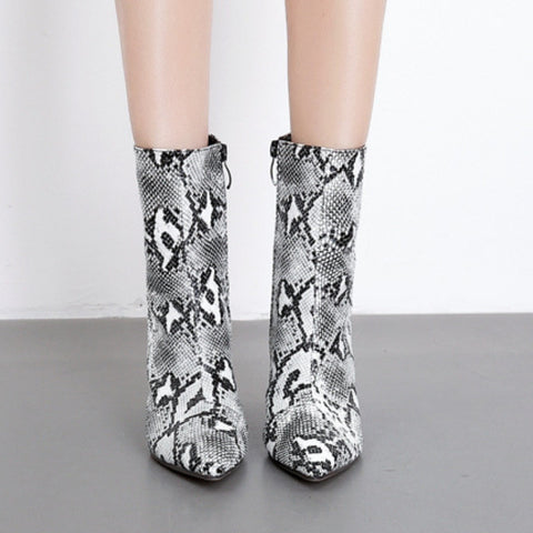 Image of Ankle High White Snake Print Boots