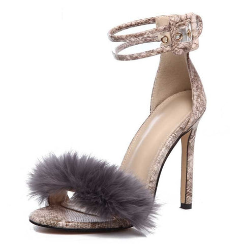 Sexy Fur Strap Square High Heels