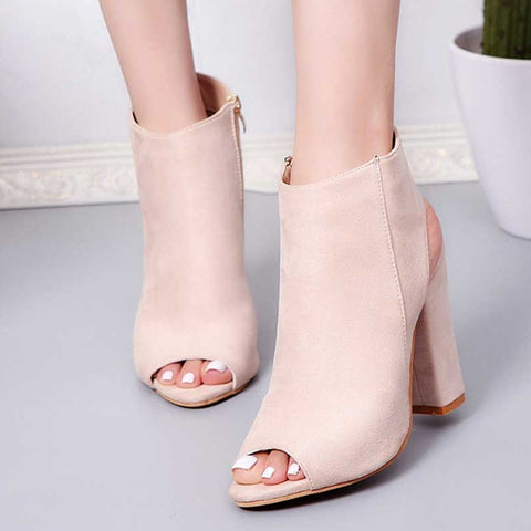 Open Toe Square Heel Ankle Boots