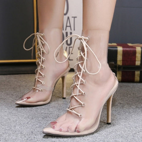 Transparent Colored Laced Up Boots