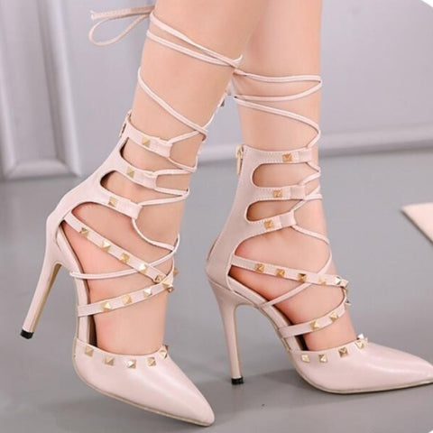 Image of Cross Lace Up Rivet Stiletto Heels