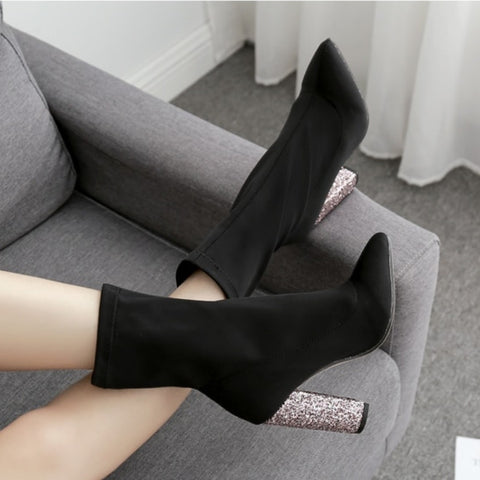 Ankle High Dazzled Heel Boots