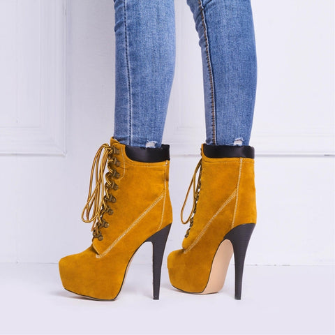 Casual Laced Platform Pump Boots