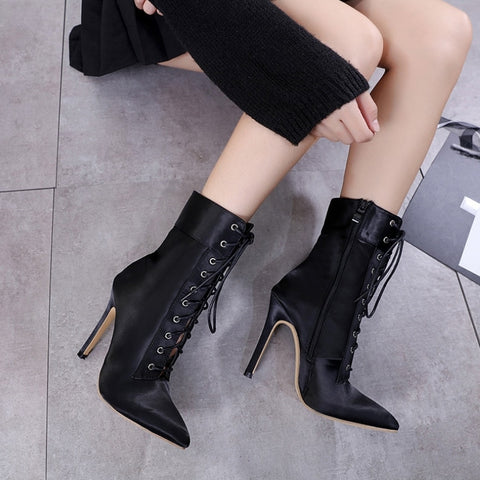 High Ankle Cross Strap Satin Boots