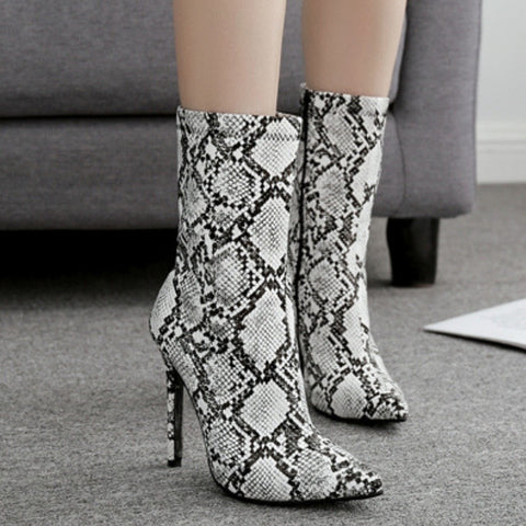 Image of Snow White Snake Print Ankle Boots