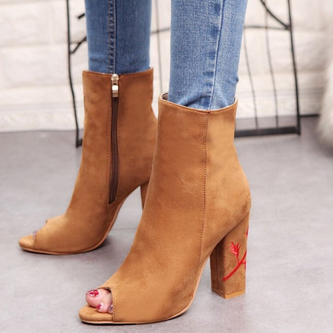 Open Toe Rose Print Boots
