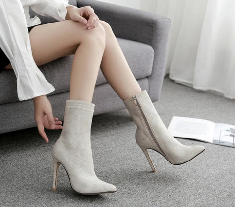 Image of Diamond Sparkle High Ankle Boots