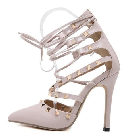 Cross Lace Up Rivet Stiletto Heels