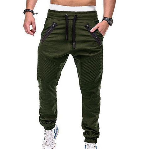 Mens Zipper Pocket Pleated Sweatpants