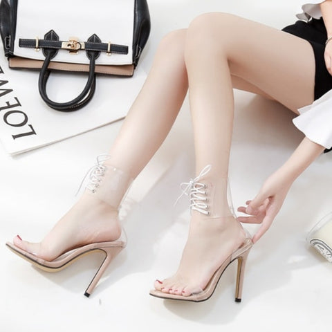 Open Toed Laced Up Party Heels