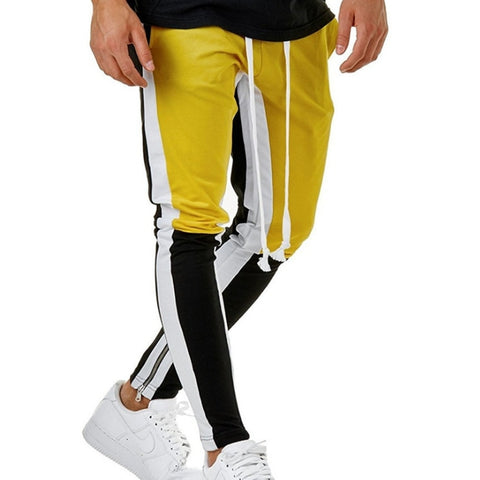Mens Striped Colored Mid Waist Sweatpants
