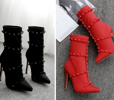 Fine Point Edgy High Heel Boots