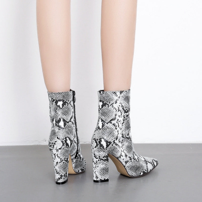 Ankle High White Snake Print Boots