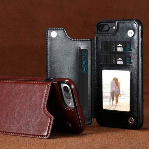 Image of Retro Leather Wallet Case For iPhone