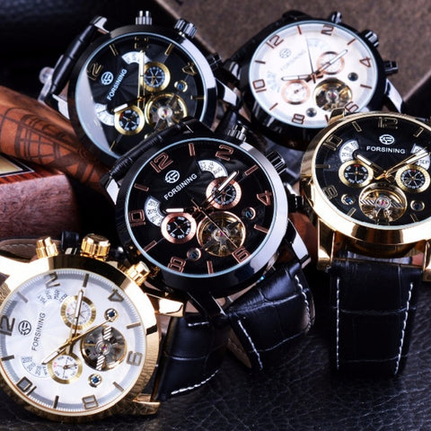 Mens Black Wave Golden Luxury Watch