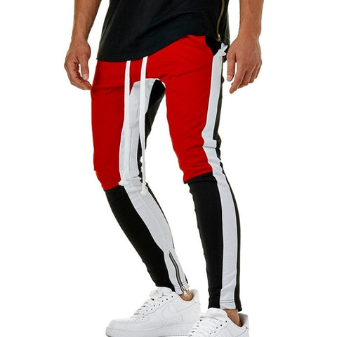 Image of Mens Striped Colored Mid Waist Sweatpants