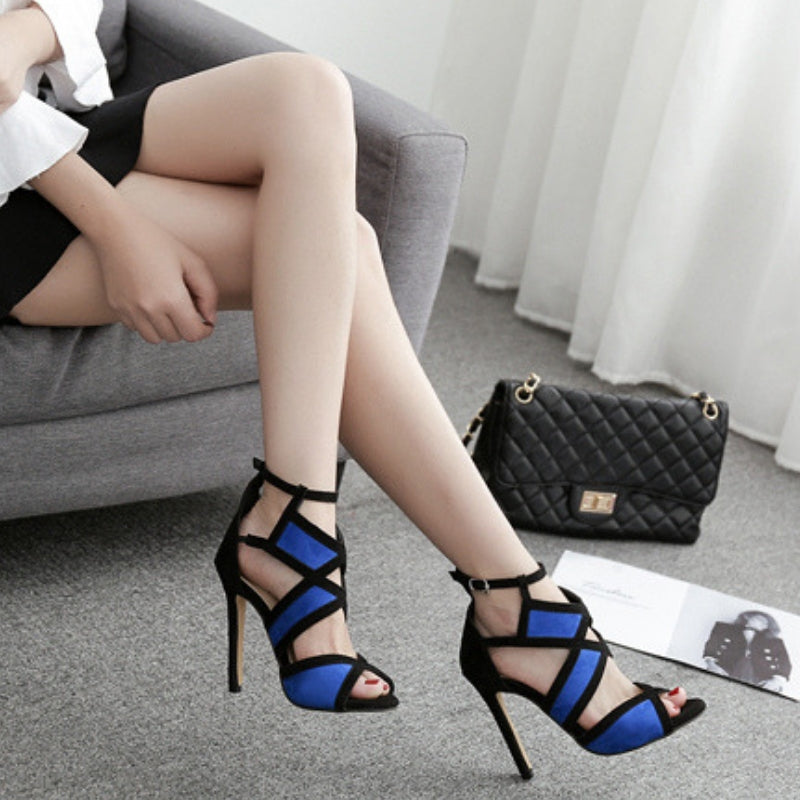 Sexy Mixed Color Open Strap Heels