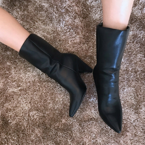 Leather Over The Knee Pleated Boots (Long/Short)