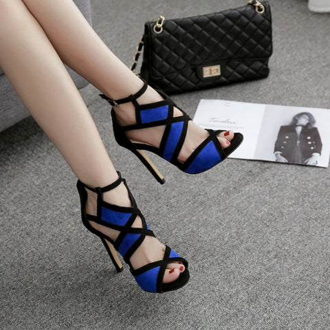 Image of Sexy Mixed Color Open Strap Heels