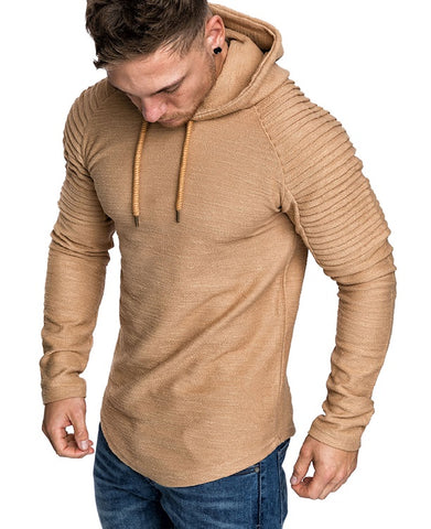 Image of Solid Color Pleated Long Sleeve Hoodie