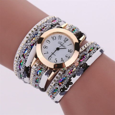 New Multi Layer Leather Bracelet Quartz Watch