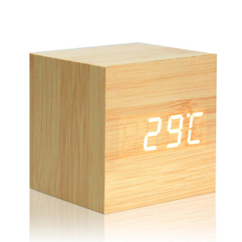 Image of Digital Thermometer Wooden LED Alarm Clock