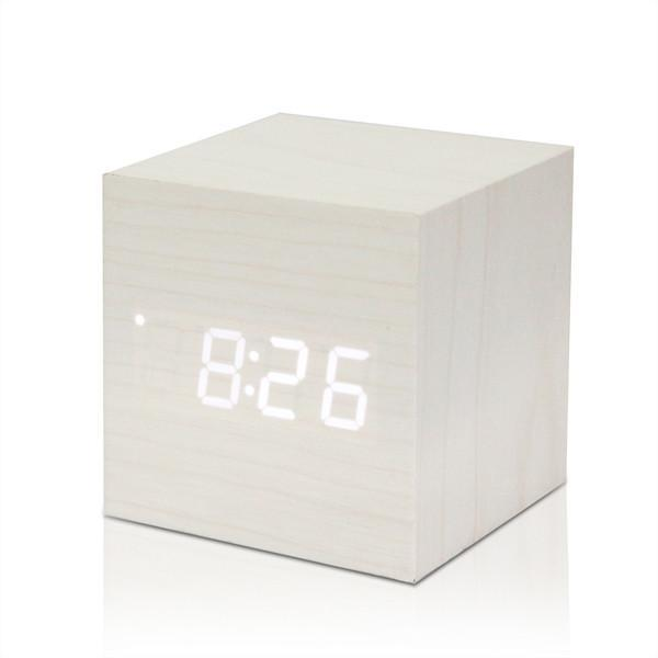 Digital Thermometer Wooden LED Alarm Clock
