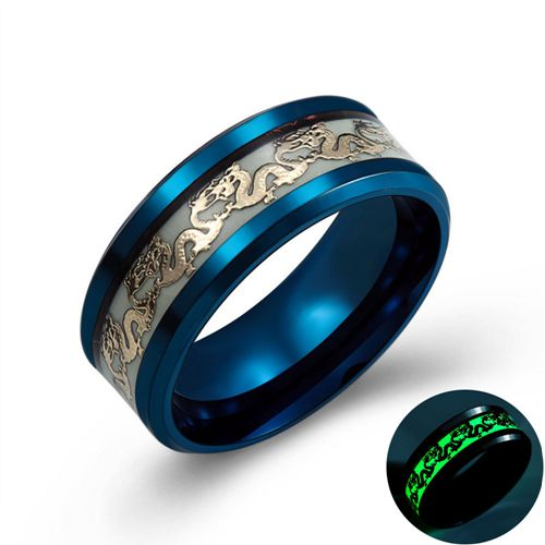 Luminous Dragon's Rage Stainless Steel Men's Ring