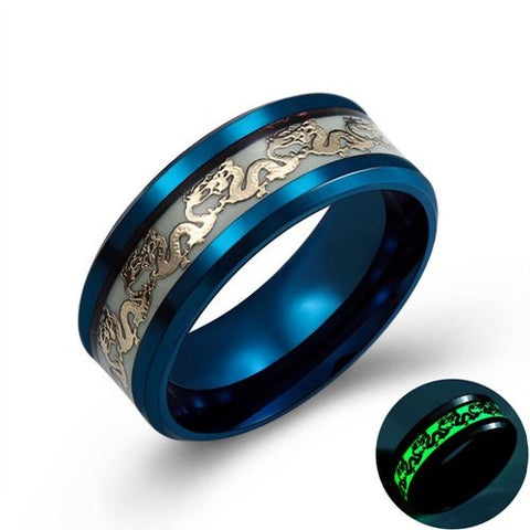 Image of Luminous Dragon's Rage Stainless Steel Men's Ring