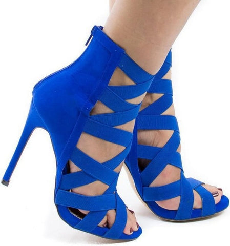 Cross Strapped High Ankle Sexy Heels