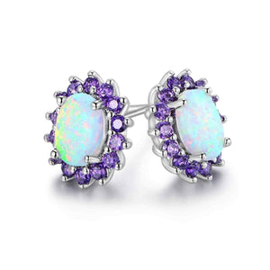White Fire Opal and Amethyst Stud Earrings in 18K White Gold